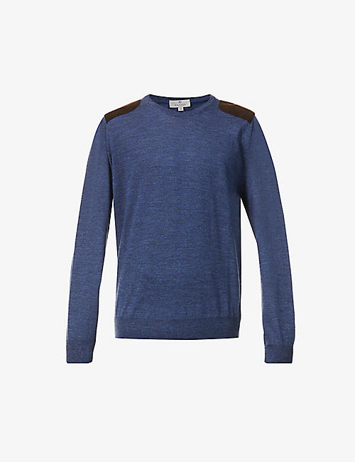 CANALI: Suede shoulder-patch fine-knit wool jumper