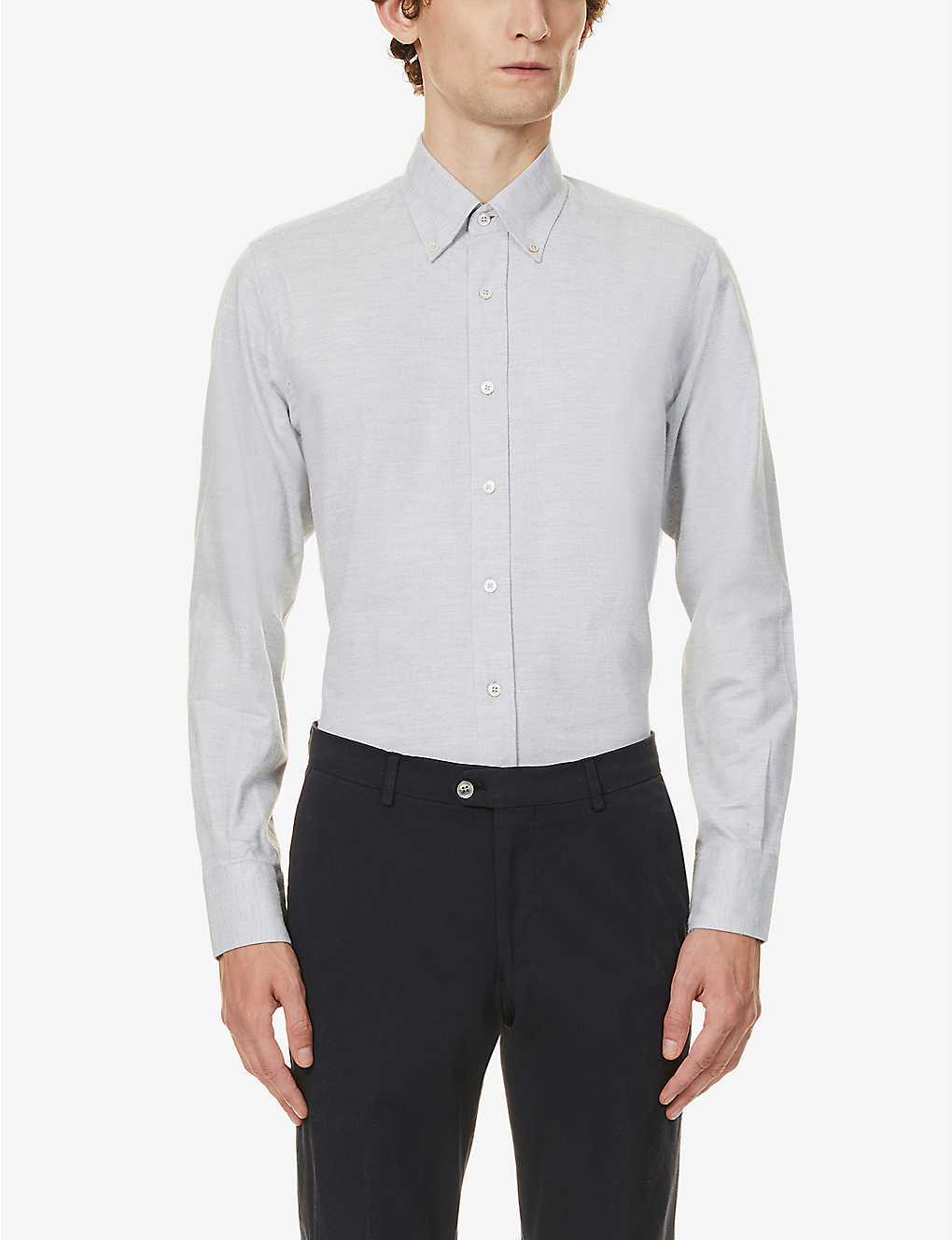 CANALI: Modern-fit short-sleeved cotton shirt