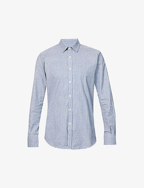 CANALI: Checked regular-fit cotton shirt