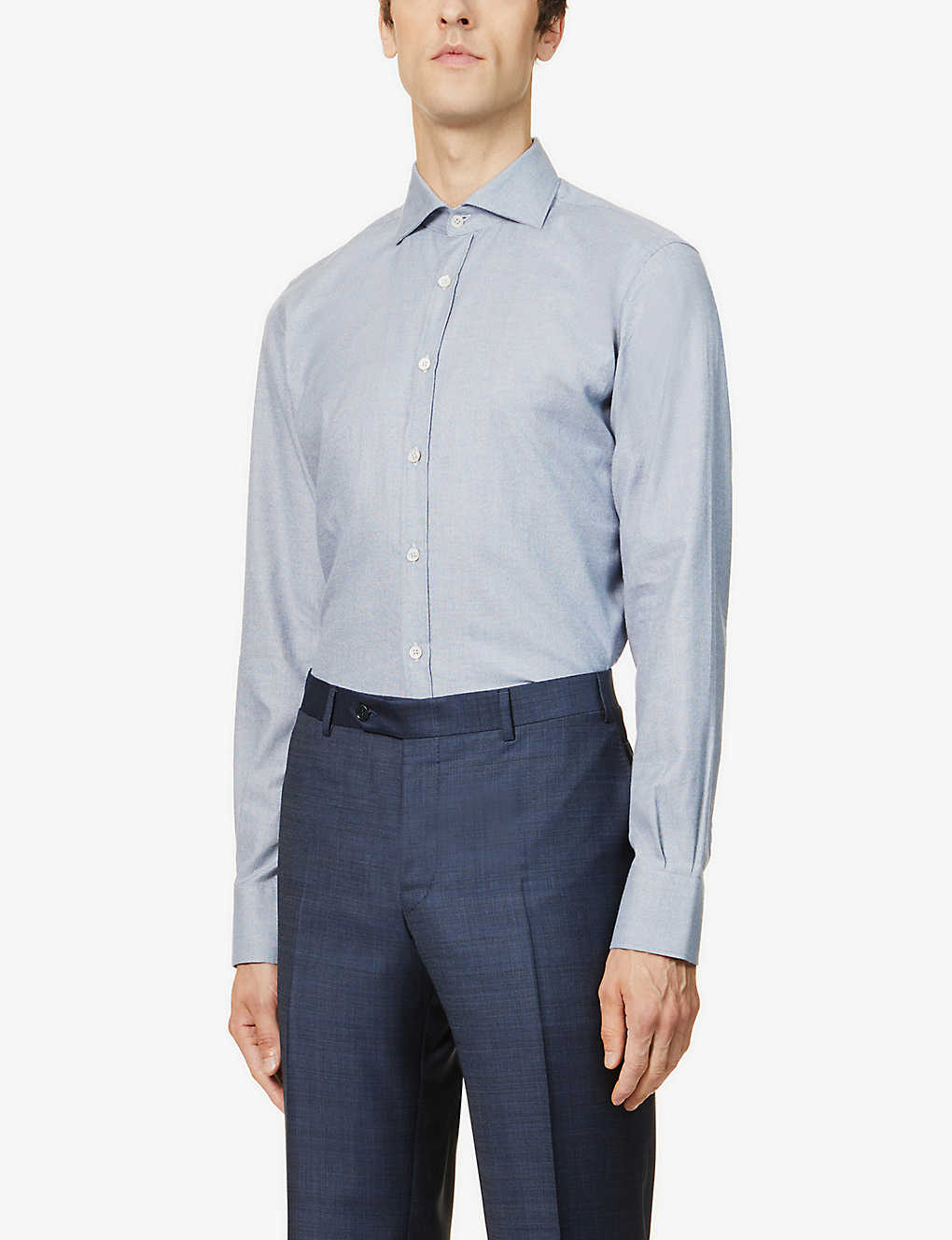 CANALI: Geometric-print slim-fit cotton shirt