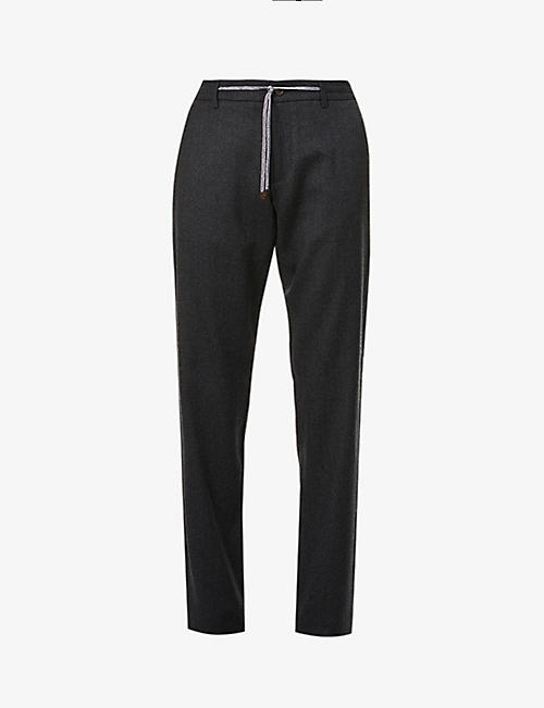 CANALI: Contrast-waistband straight wool trousers