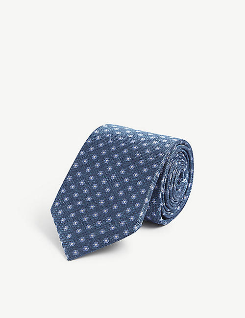 CANALI: Floral silk-jacquard tie