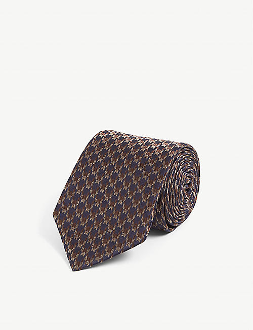 CANALI: Houndstooth silk-jacquard tie