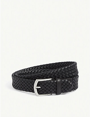 CANALI: Basketweave woven leather belt