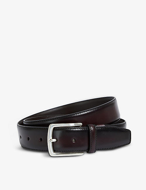CANALI: Burn-edge leather belt