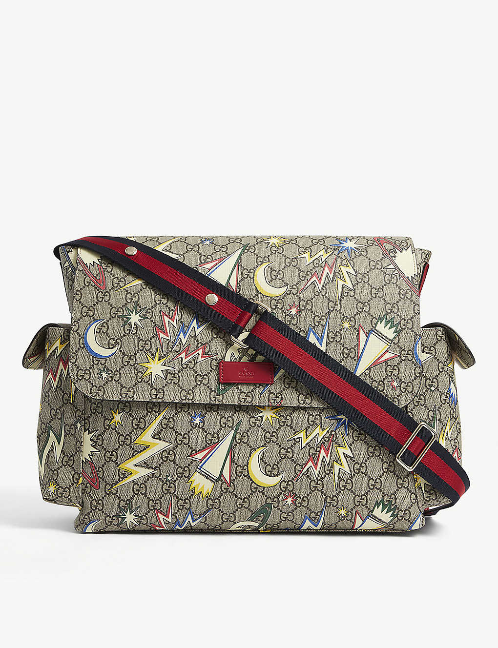 GUCCI: Supreme space-print canvas baby changing bag