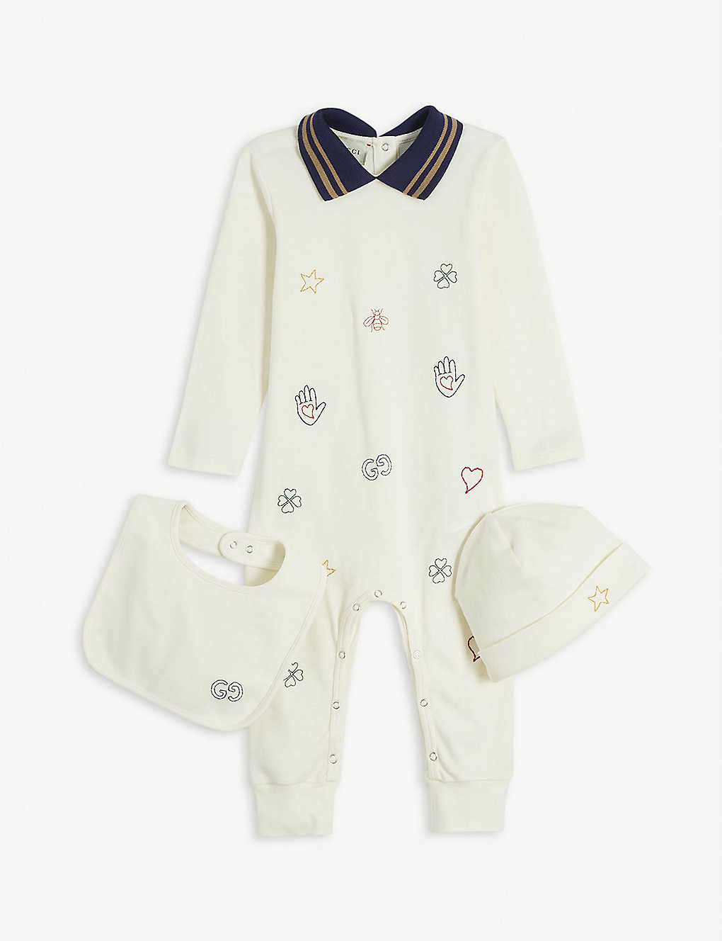 GUCCI: Graphic-print cotton baby grow set 0-24 months