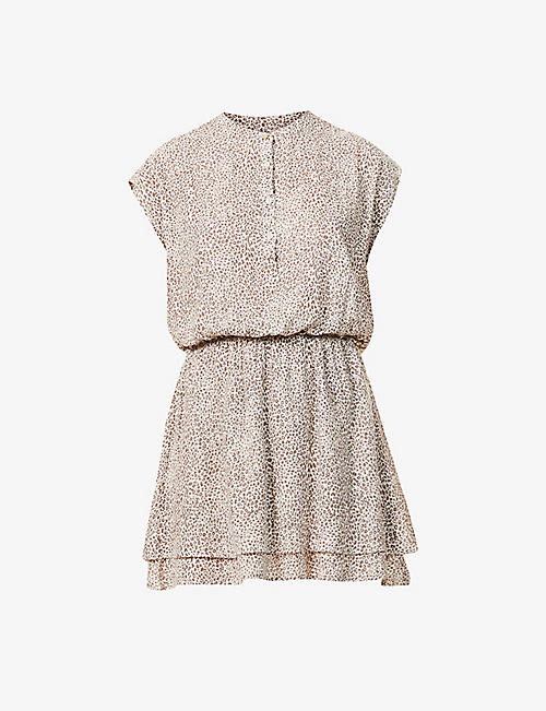 RAILS: Angelina leopard-print linen-blend mini dress