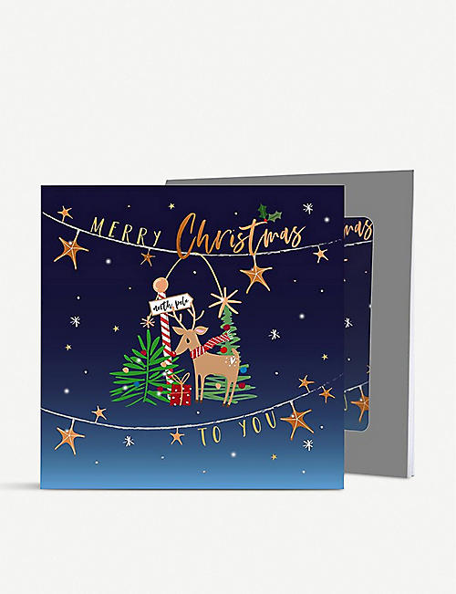 BELLY BUTTON: Merry Christmas Reindeer greetings cards pack of five