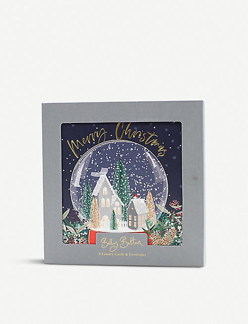 BELLY BUTTON: Merry Christmas Snow Globe greetings cards pack of eight