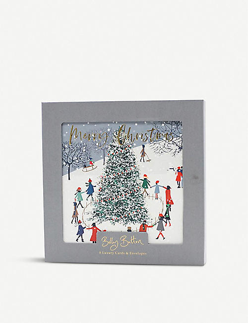 BELLY BUTTON: Snow Scene greetings card 13 x 13cm pack of 8