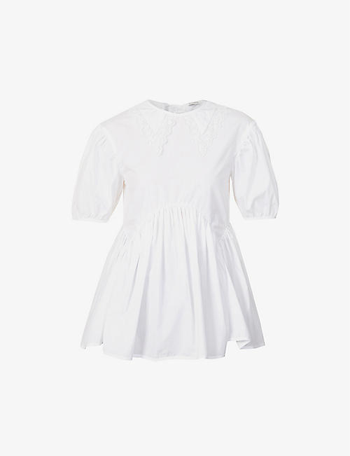 CECILIE BAHNSEN: Mie puff-sleeve organic-cotton top