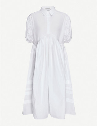 CECILIE BAHNSEN: Margo puffed-sleeve cotton midi shirt dress