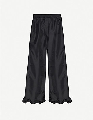 CECILIE BAHNSEN: Vinnie frilled-trim straight woven trousers