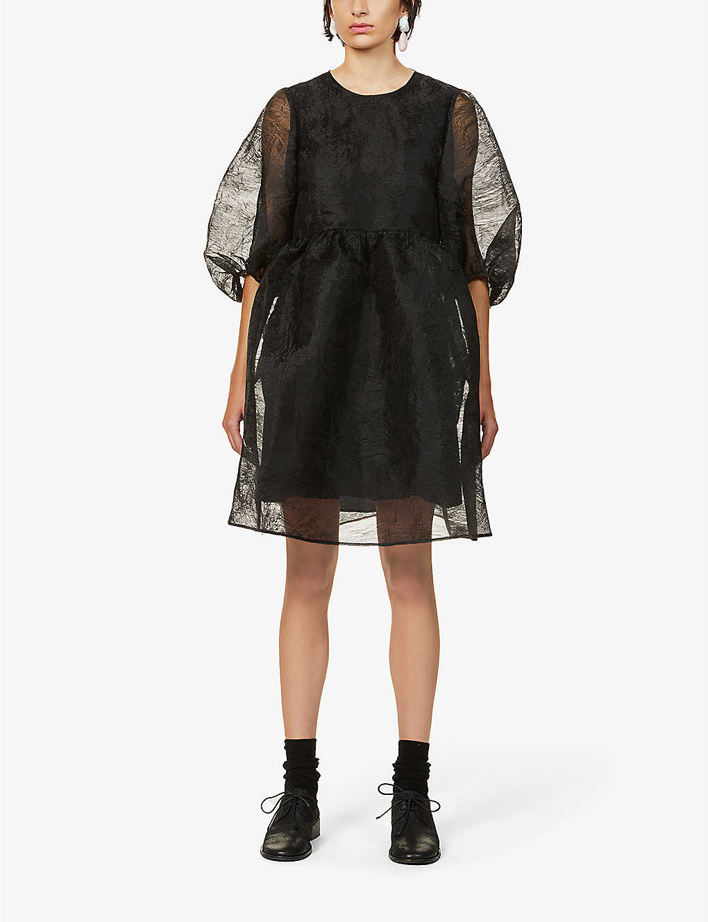 CECILIE BAHNSEN: Mabel abstract-patterned organza mini dress