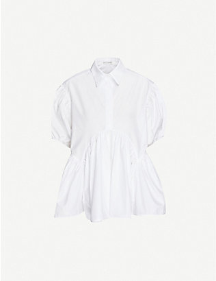 CECILIE BAHNSEN: Ellie collared puff-sleeved cotton top