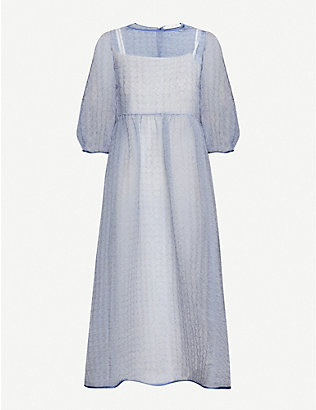 CECILIE BAHNSEN: Karmen semi-sheer silk-blend midi dress
