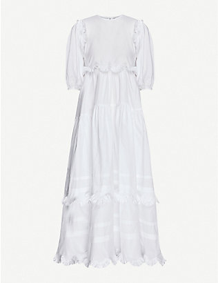 CECILIE BAHNSEN: Maren tiered-skirt cotton midi dress