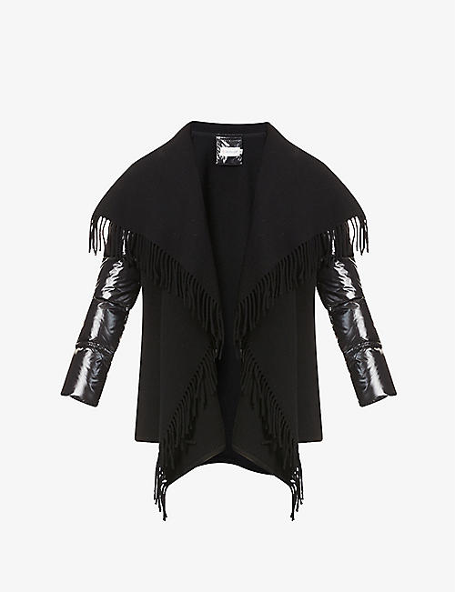 MONCLER: Padded-sleeve wool and shell-down shawl
