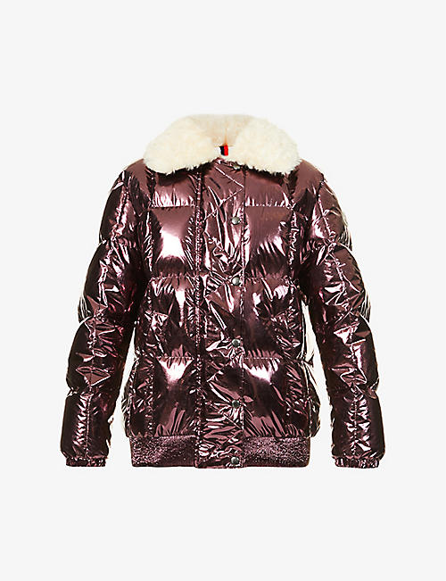 MONCLER: Morville metallic shell-down coat