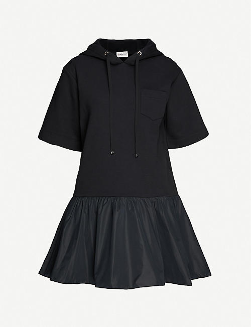 MONCLER: Abito hooded cotton and shell midi dress