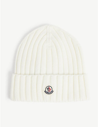 MONCLER: Logo-embroidered knitted wool beanie