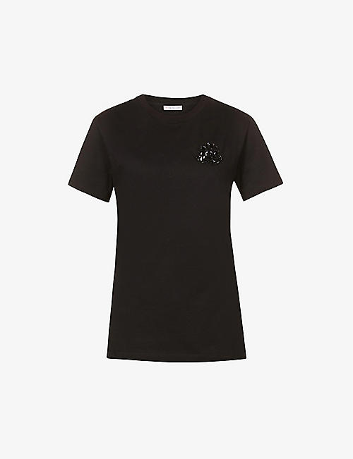 MONCLER: Embellished cotton-jersey T-shirt