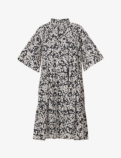 MERLETTE: Astell floral-print cotton mini dress