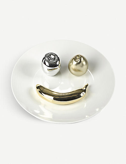 POLS POTTEN: Silver and gold-toned fruit smile porcelain plate 40cm