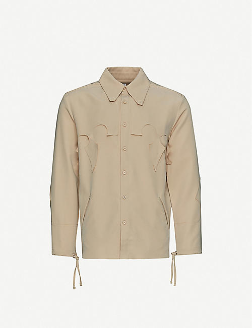 PIECES UNIQUES: Joy cutout stretch-crepe shirt