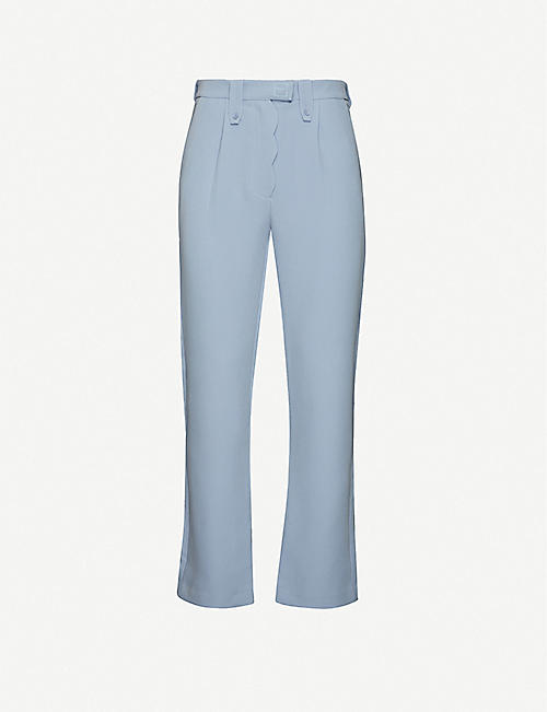 PIECES UNIQUES: Sad scalloped-trim stretch-jersey trousers
