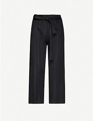 PLEATS PLEASE ISSEY MIYAKE: Pleated wide-leg high-rise woven trousers