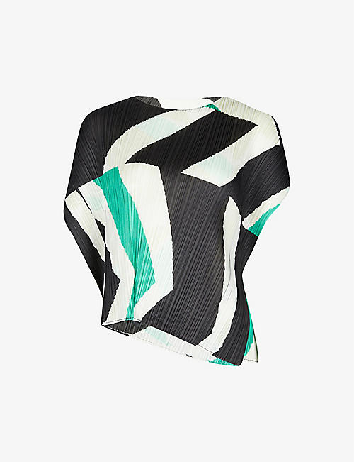 PLEATS PLEASE ISSEY MIYAKE: Motion graphic-print pleated capped-sleeve woven top