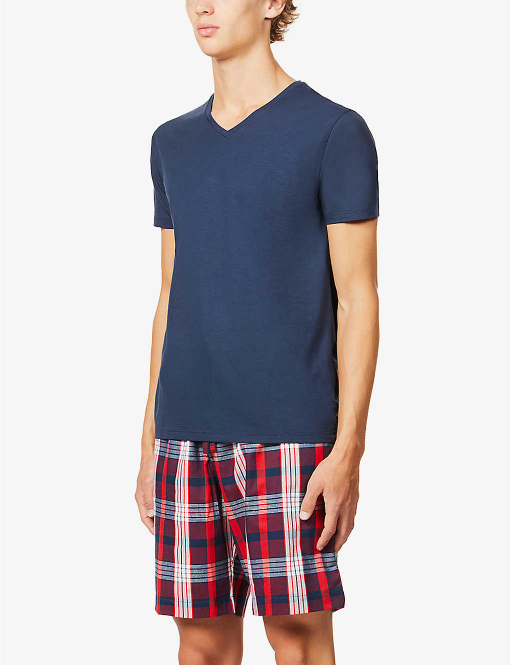 DEREK ROSE: Ranga check cotton pyjama shorts