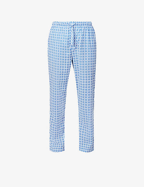 DEREK ROSE: Ledbury geometric-print cotton pyjama bottoms