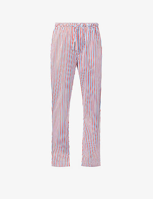 DEREK ROSE: Ledbury striped cotton-poplin pyjama bottoms