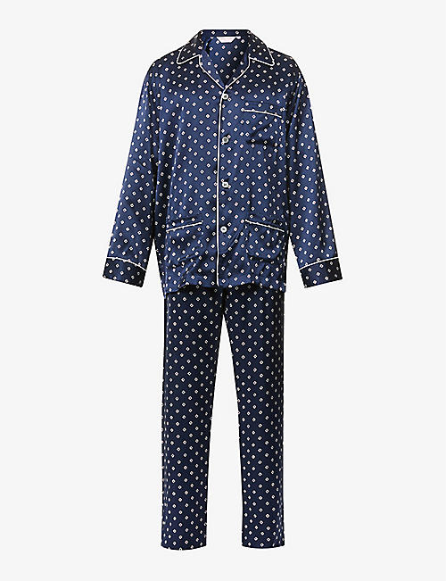DEREK ROSE: Geometric-print silk pyjama set
