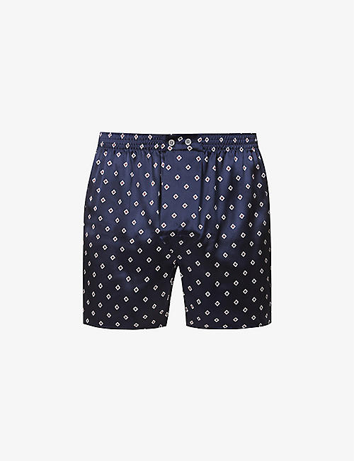 DEREK ROSE: Dr Silk graphic-print silk boxers