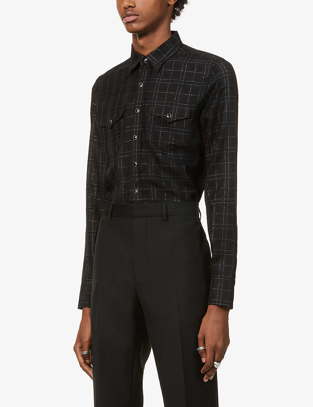 SAINT LAURENT: Western checked woven shirt
