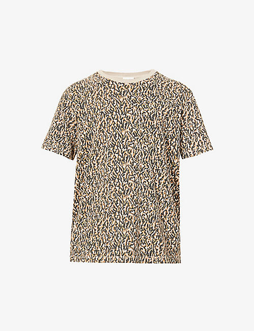 SAINT LAURENT: Leopard-print cotton-jersey T-shirt
