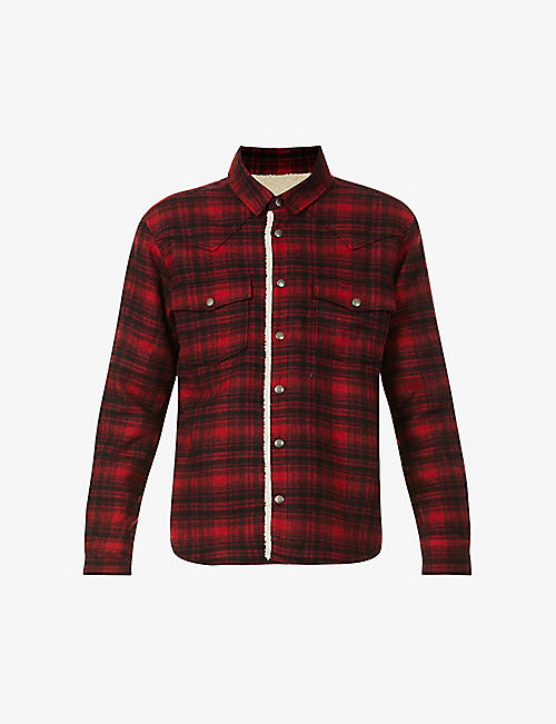 SAINT LAURENT: Check wool-blend shirt