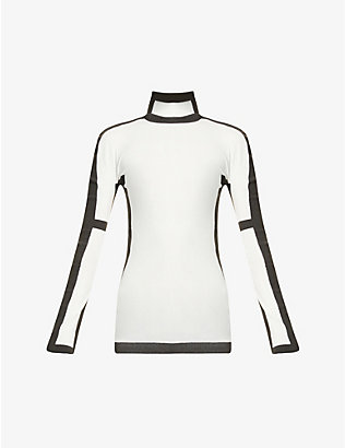 ISSEY MIYAKE: Graphic-print high-neck stretch-jersey top