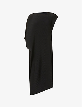 ISSEY MIYAKE: Asymmetric pleated woven dress
