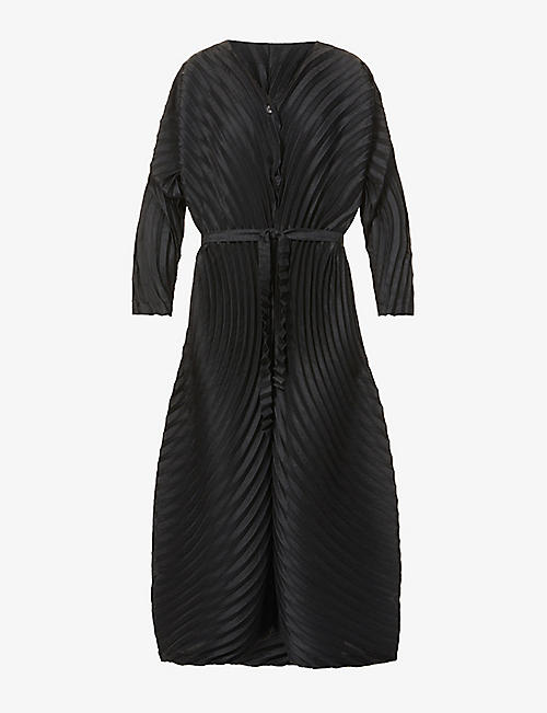 ISSEY MIYAKE: Belted pleated woven midi jumpsuit