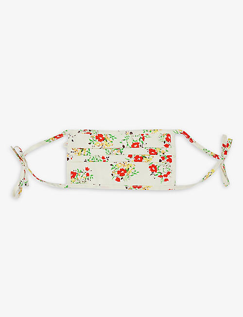 RIXO: Hope floral-print recycled silk-blend face covering