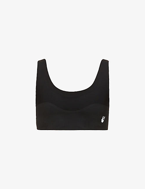 OFF-WHITE C/O VIRGIL ABLOH: Athleisure branded stretch-jersey bra top