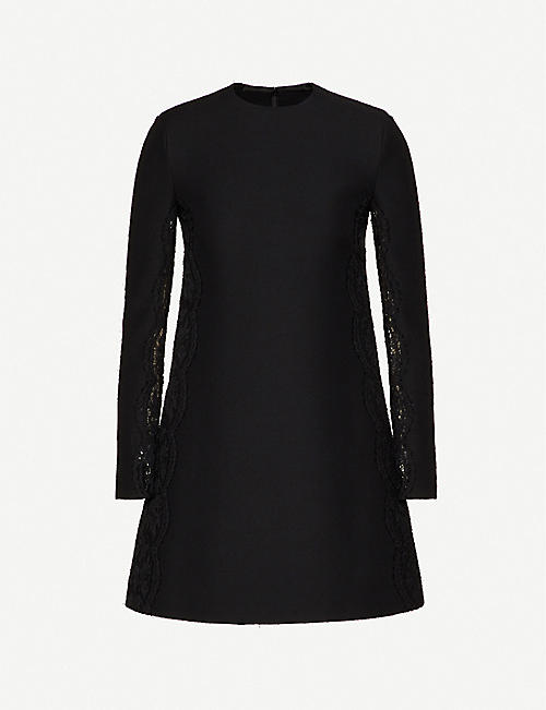 VALENTINO: Floral-lace A-line silk and wool-blend mini dress