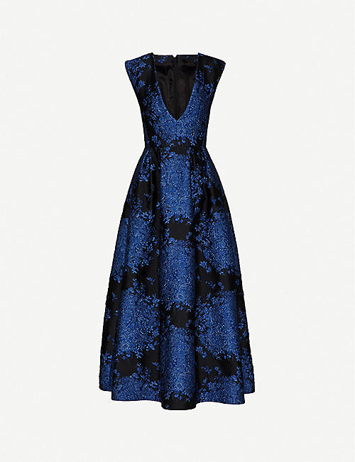 VALENTINO: Sleeveless V-neck floral-brocade gown