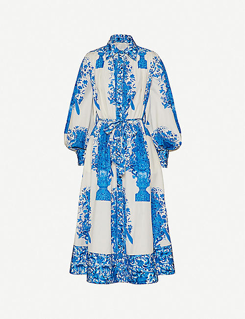 VALENTINO: Floral-print blouson-sleeved A-line cotton midi dress
