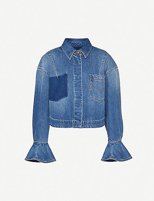 VALENTINO: Brand-embroidered boxy-fit denim jacket